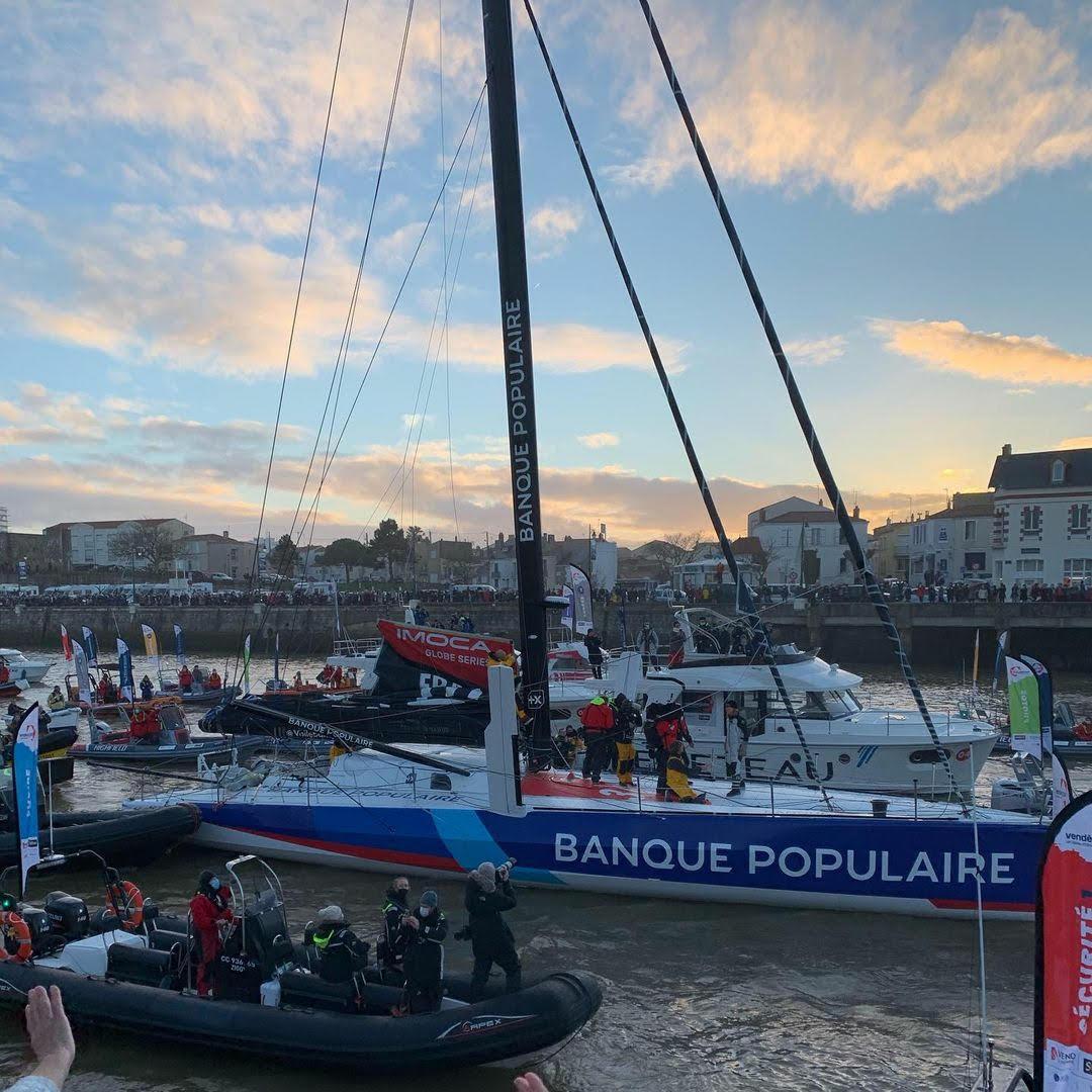 Ziggy aux arrivées du Vendée Globe 2021