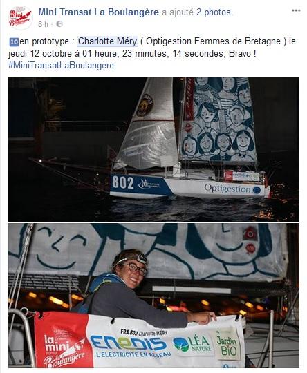 Charlotte Mery à l'arrivée à Las Palmas Mini Transat La boulagère _ Kyss Marine